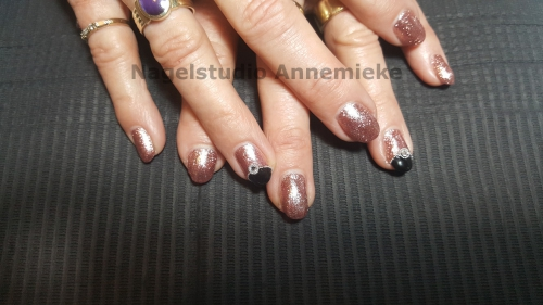 Crystal nails gel verlenging met Pink Gellac en art